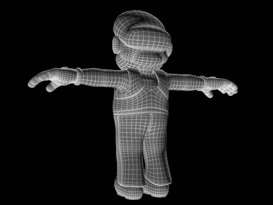 Simple Super Mario Video Game Character royalty-free 3d model - Preview no. 6