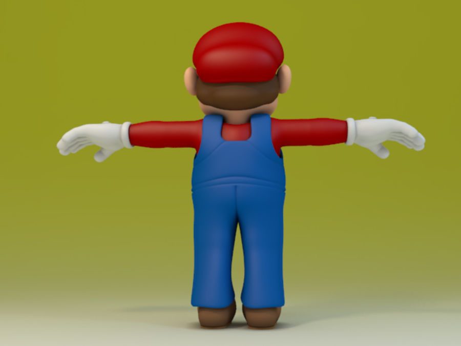 Simple Super Mario Video Game Character royalty-free 3d model - Preview no. 4