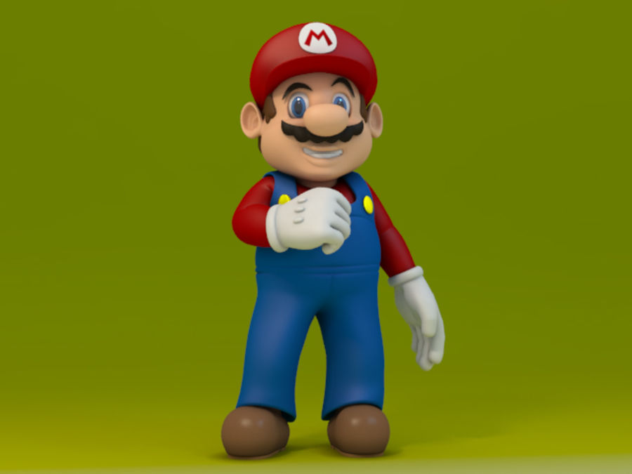 Simple Super Mario Video Game Character royalty-free 3d model - Preview no. 1