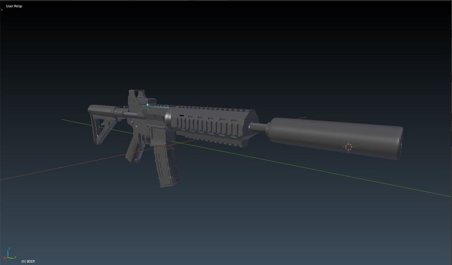 Assault Rifle royalty-free 3d model - Preview no. 3