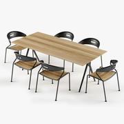 Set per sedia curva da tavolo diviso 3d model