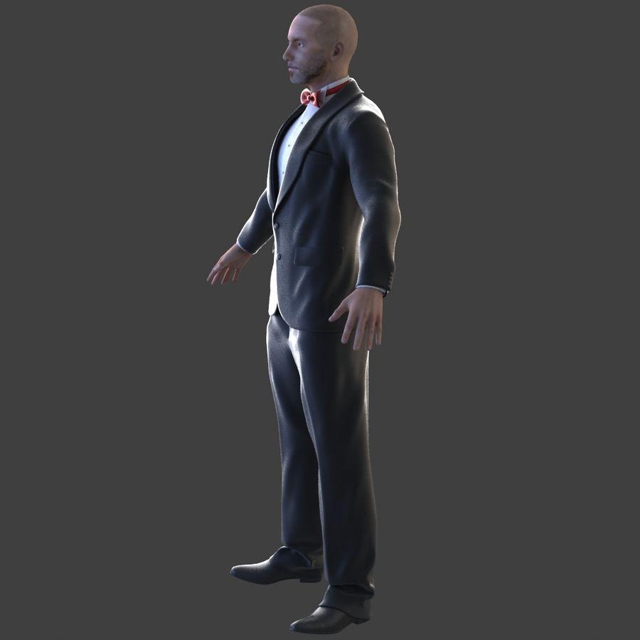 Człowiek smokingu royalty-free 3d model - Preview no. 4