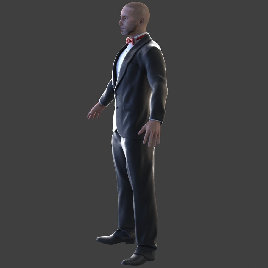 Tuxedo man royalty-free 3d model - Preview no. 4