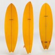 surfboard orange 3d model