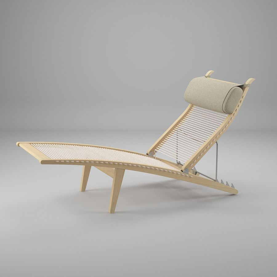 Deck Chair PP 524  -  Han J Wegner royalty-free 3d model - Preview no. 2