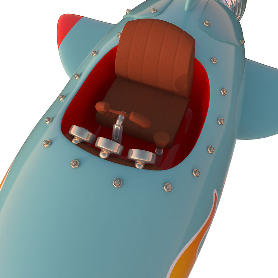 Cartoon Space Rocket ship royalty-free 3d model - Preview no. 23