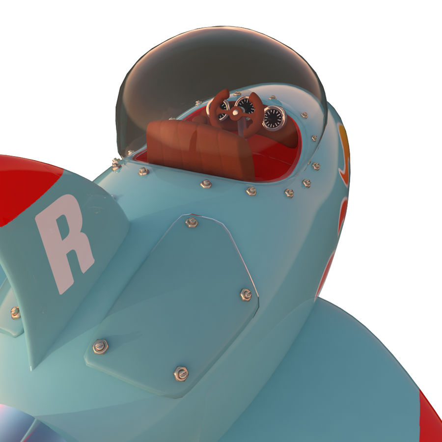 Cartoon Space Rocket ship royalty-free 3d model - Preview no. 19