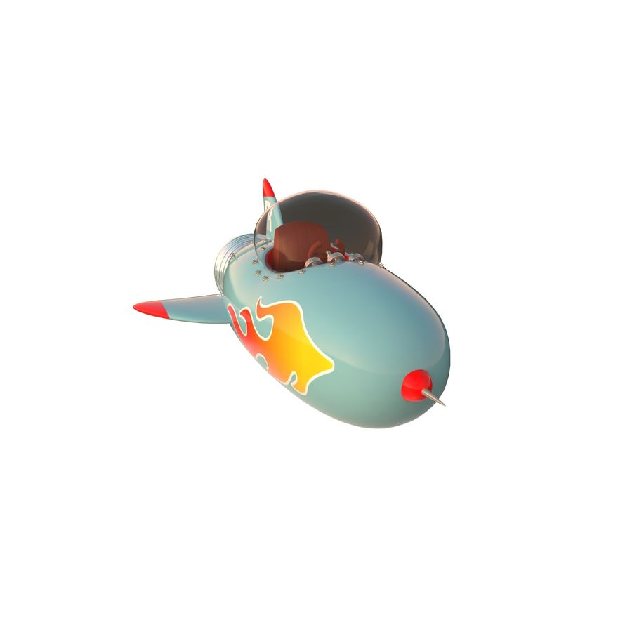 Cartoon Space Rocket ship royalty-free 3d model - Preview no. 43