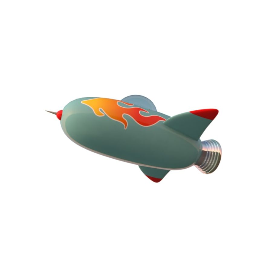 Cartoon Space Rocket ship royalty-free 3d model - Preview no. 13