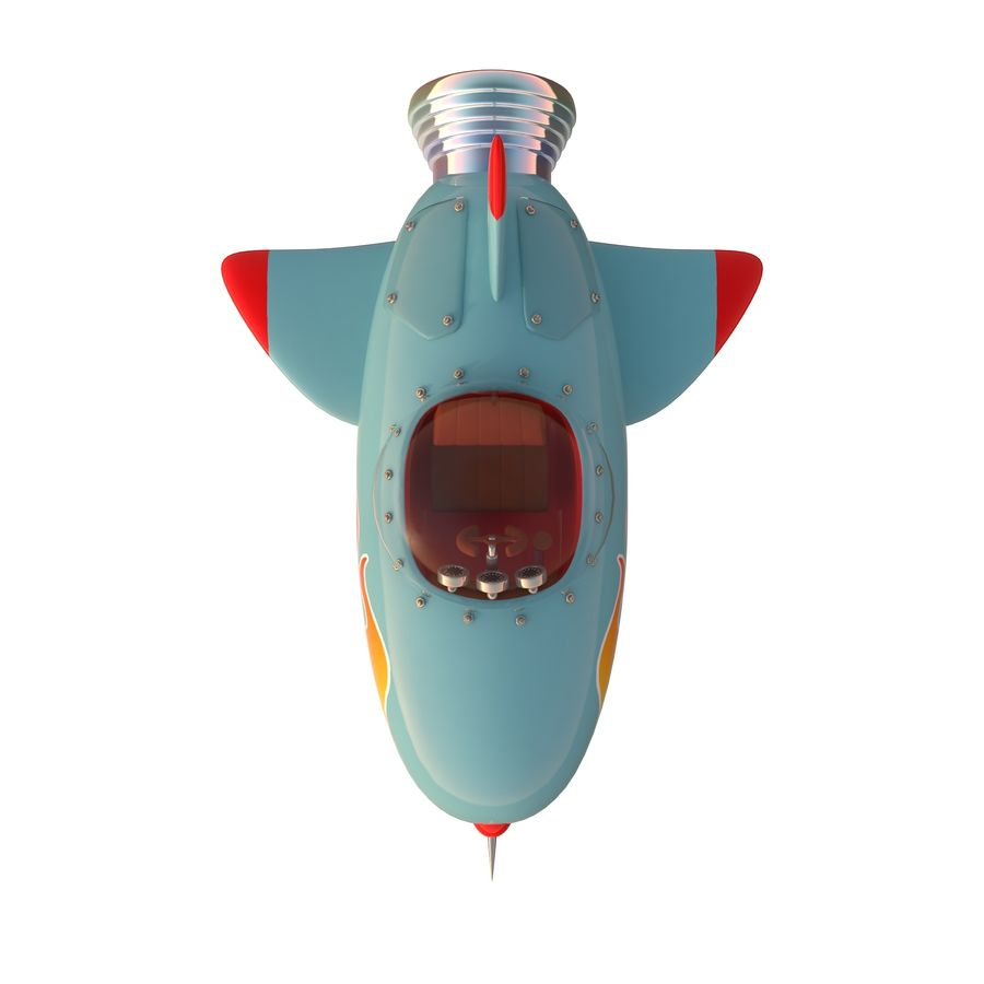Cartoon Space Rocket ship royalty-free 3d model - Preview no. 35
