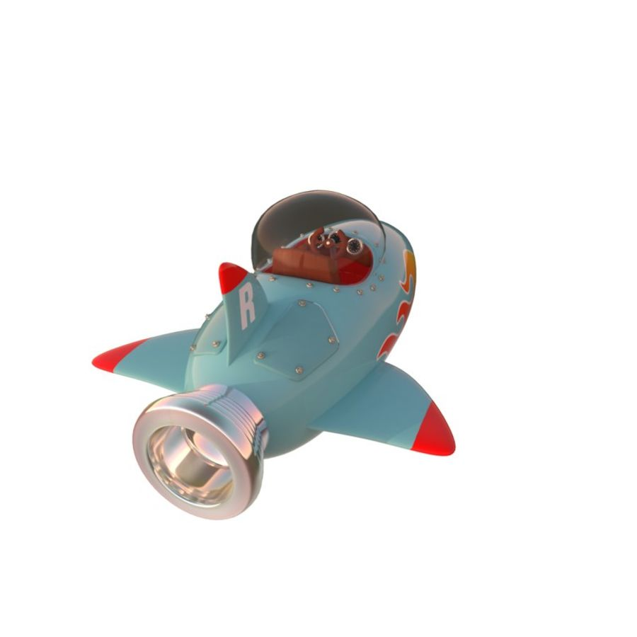 Cartoon Space Rocket ship royalty-free 3d model - Preview no. 10