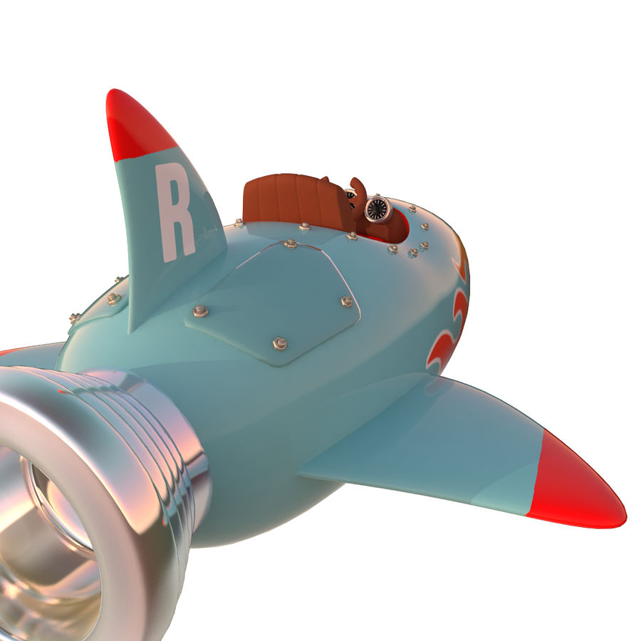 Cartoon Space Rocket ship royalty-free 3d model - Preview no. 31