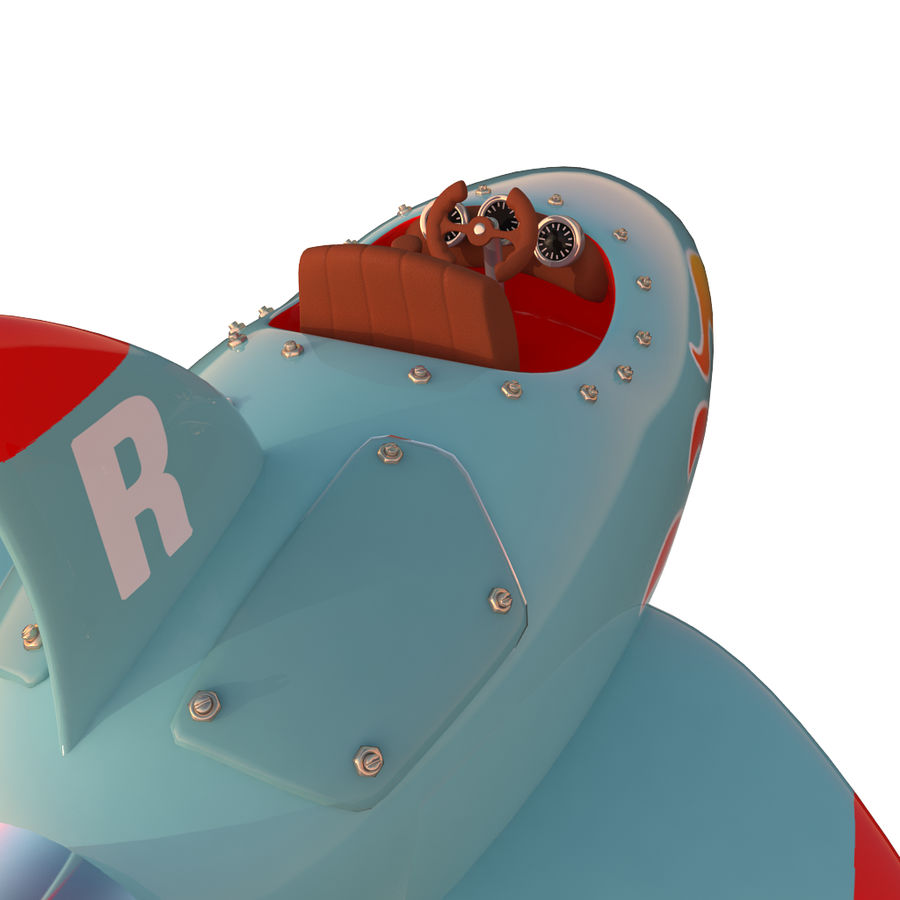 Cartoon Space Rocket ship royalty-free 3d model - Preview no. 29