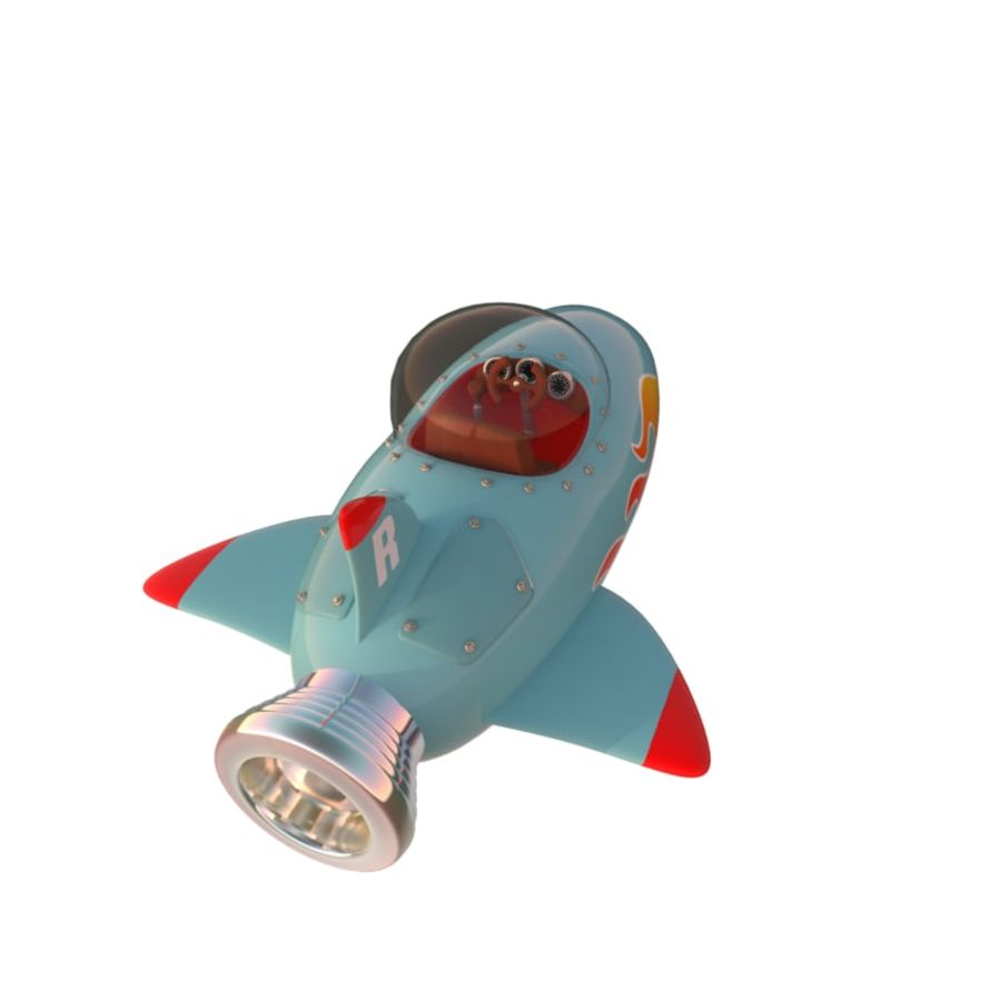 Cartoon Space Rocket ship royalty-free 3d model - Preview no. 7