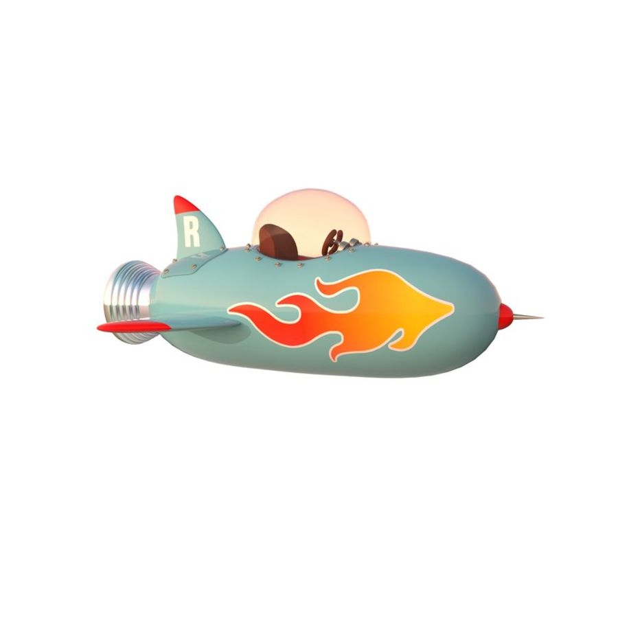 Cartoon Space Rocket ship royalty-free 3d model - Preview no. 44