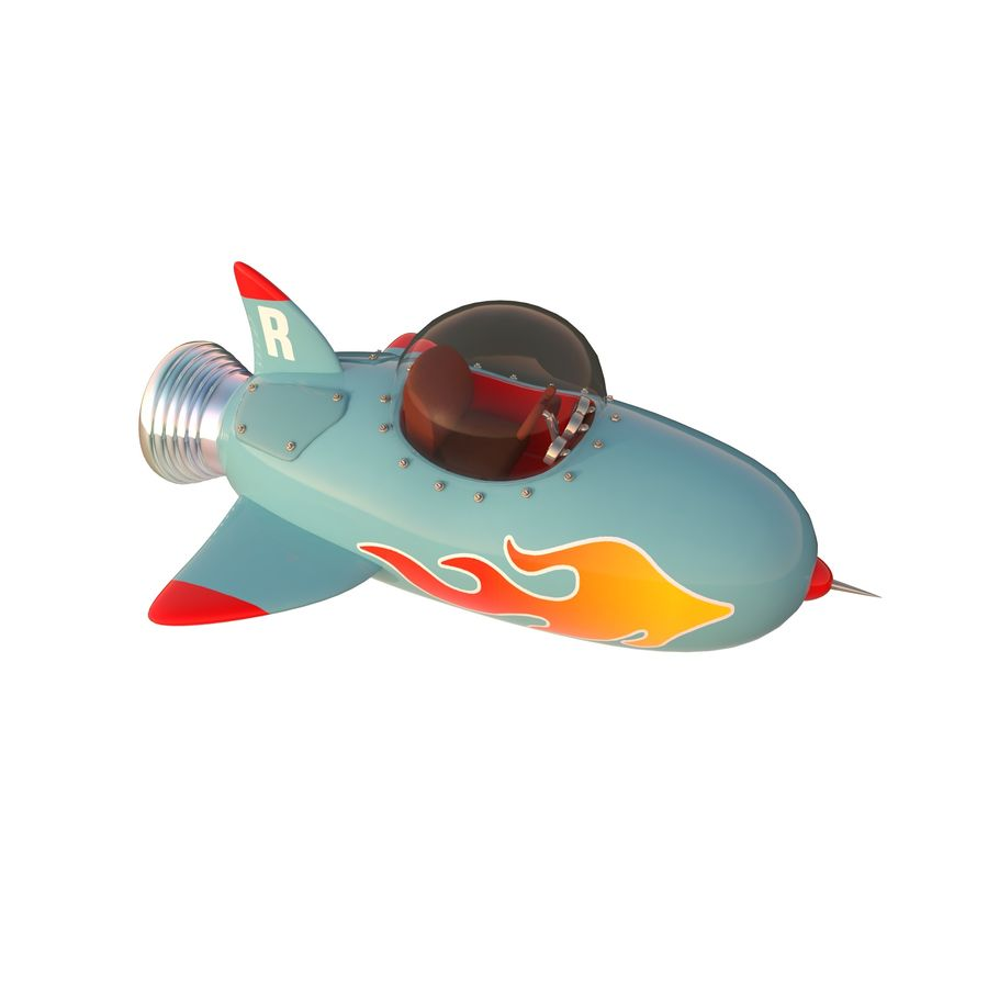 Cartoon Space Rocket ship royalty-free 3d model - Preview no. 41