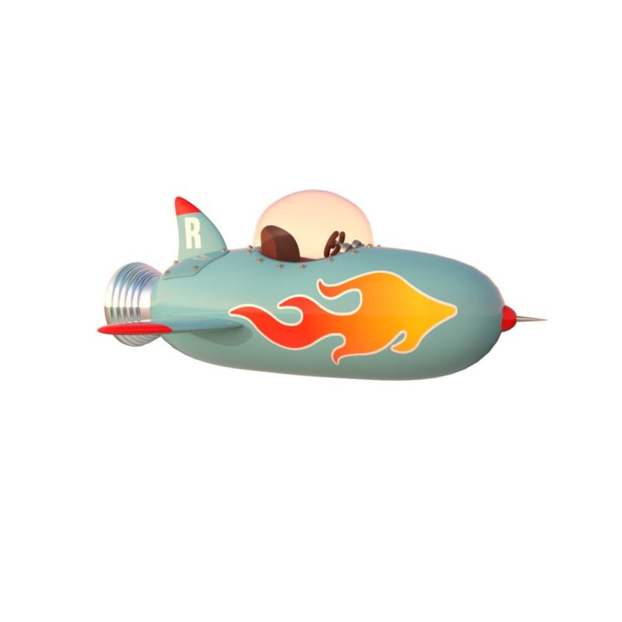 Cartoon Space Rocket ship royalty-free 3d model - Preview no. 12