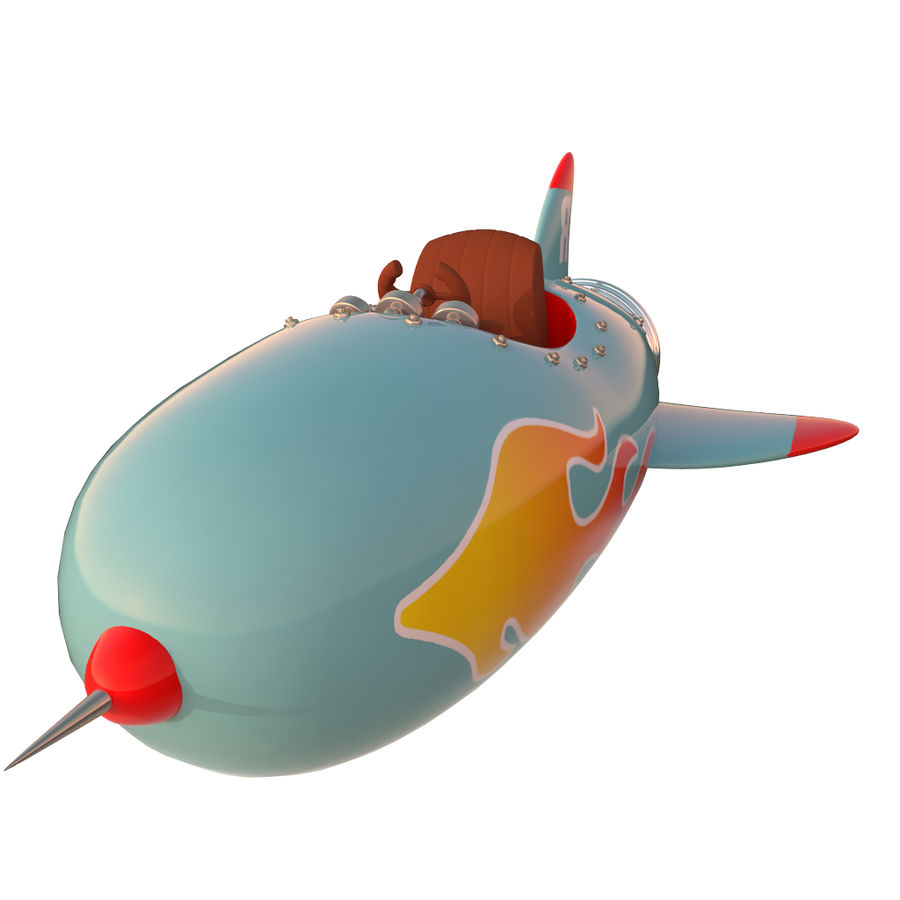 Cartoon Space Rocket ship royalty-free 3d model - Preview no. 30