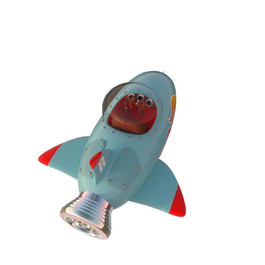 Cartoon Space Rocket ship royalty-free 3d model - Preview no. 37