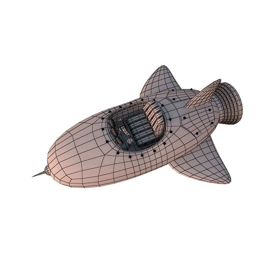 Cartoon Space Rocket ship royalty-free 3d model - Preview no. 71