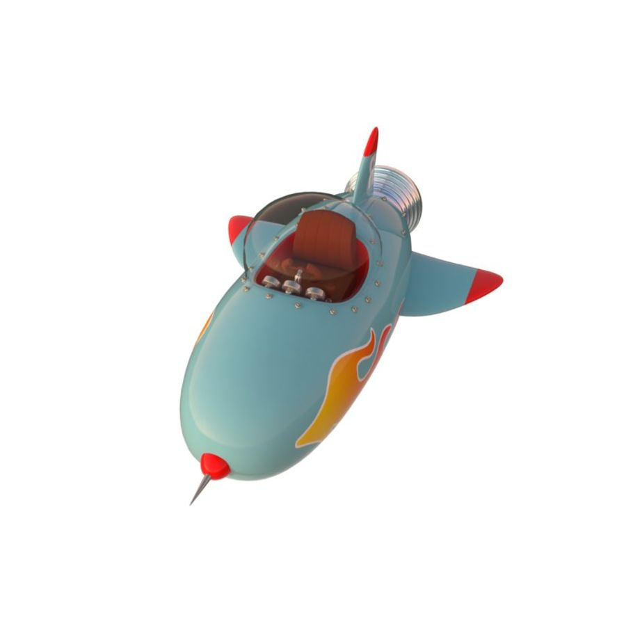 Cartoon Space Rocket ship royalty-free 3d model - Preview no. 6