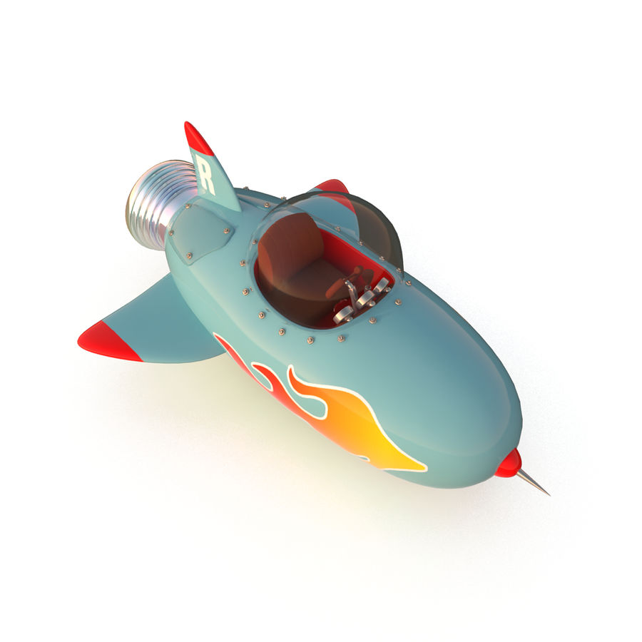 Cartoon Space Rocket ship royalty-free 3d model - Preview no. 2