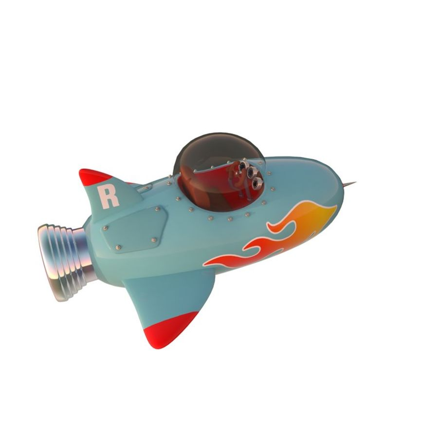 Cartoon Space Rocket ship royalty-free 3d model - Preview no. 40
