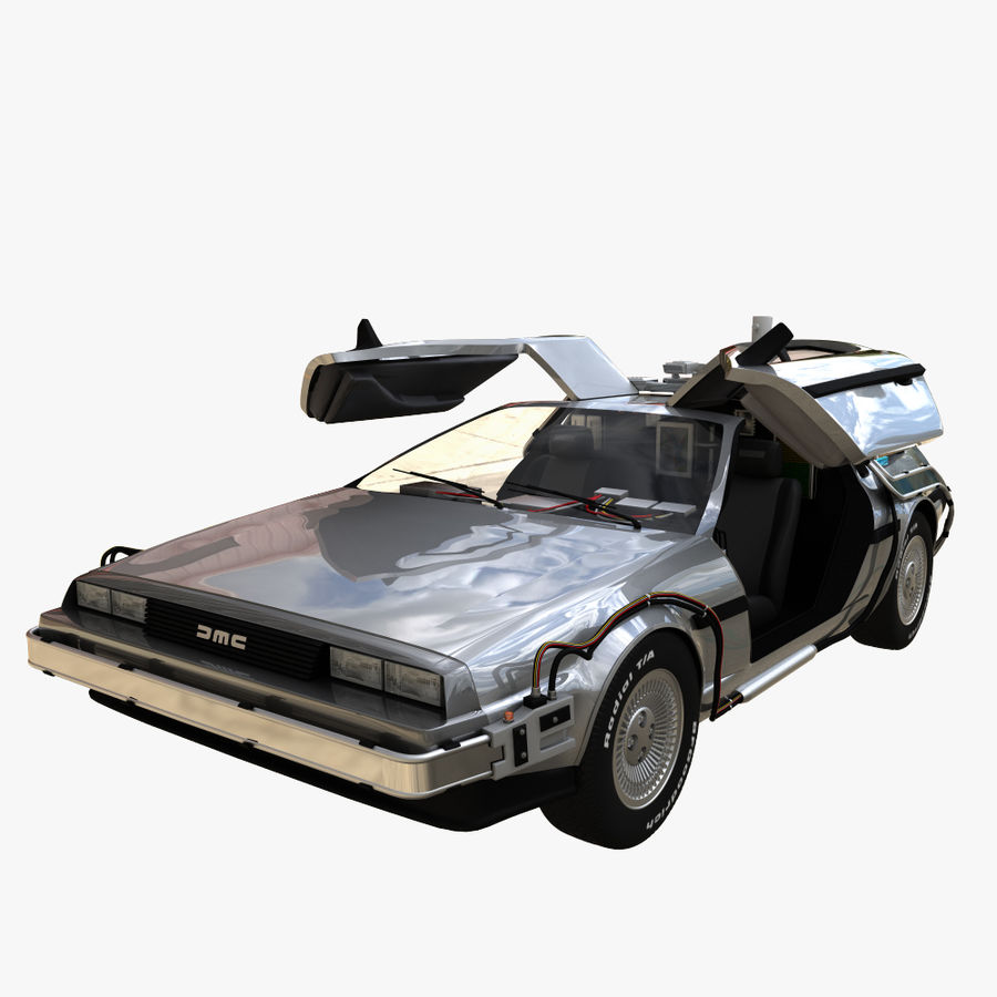 Delorean Time Machine royalty-free 3d model - Preview no. 2