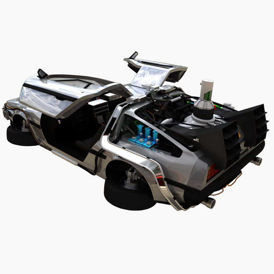 Delorean Time Machine royalty-free 3d model - Preview no. 3