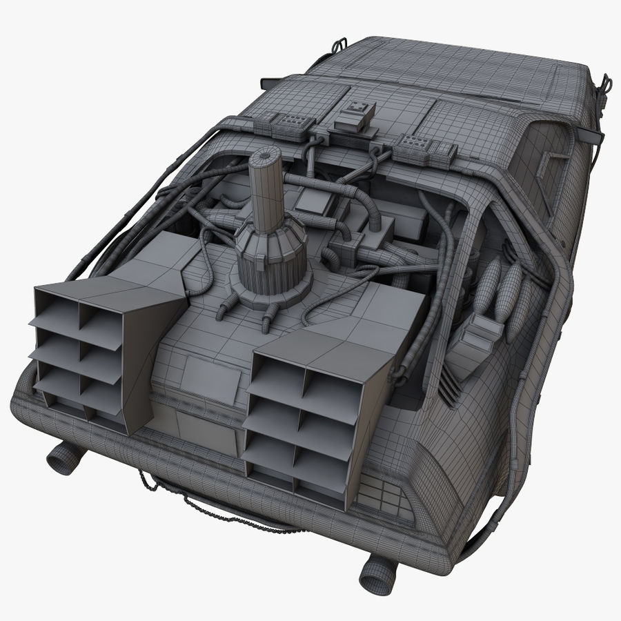 Delorean Time Machine royalty-free 3d model - Preview no. 12