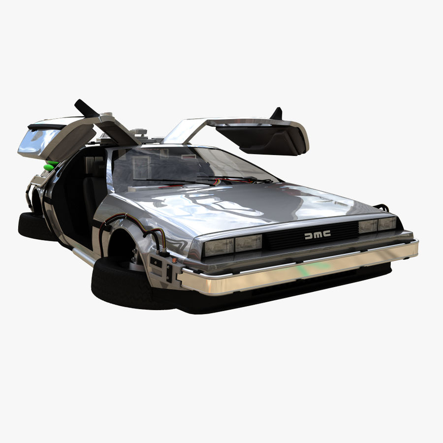 Delorean Time Machine royalty-free 3d model - Preview no. 5