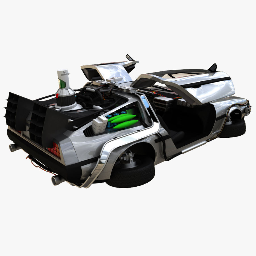 Delorean Time Machine royalty-free 3d model - Preview no. 4