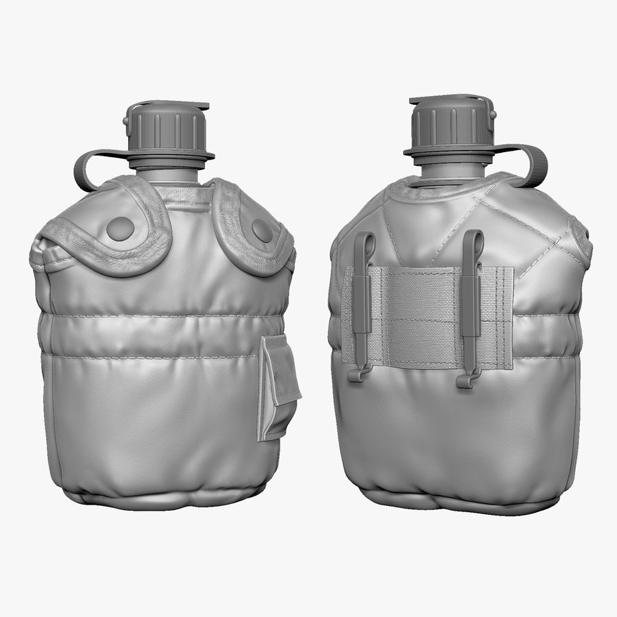 1QT Military Canteen Zbrush Sculpt royalty-free 3d model - Preview no. 1