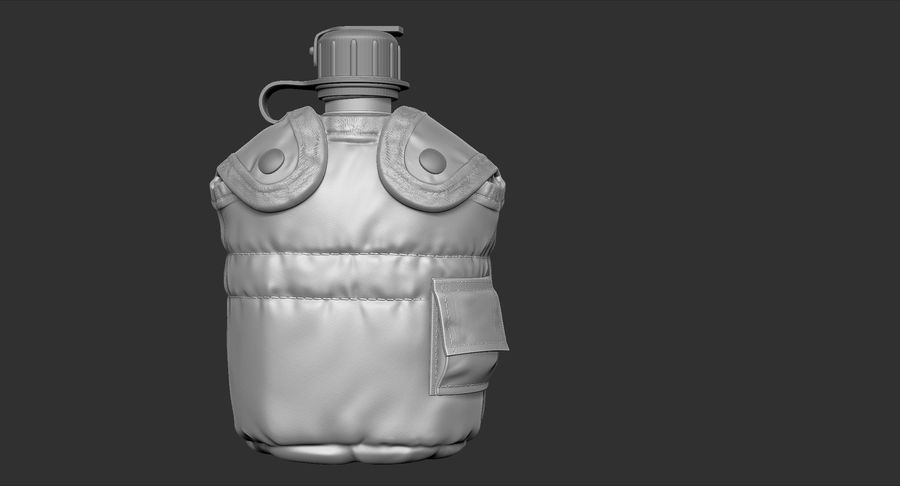 1QT Military Canteen Zbrush Sculpt royalty-free 3d model - Preview no. 3