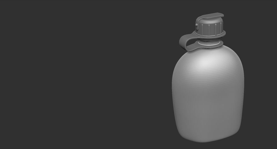 1QT Military Canteen Zbrush Sculpt royalty-free 3d model - Preview no. 14