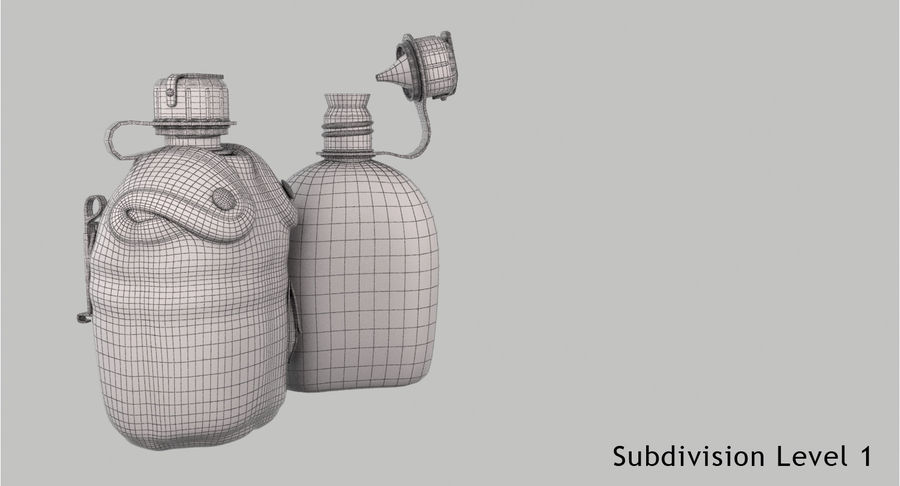 1QT Military Canteen Zbrush Sculpt royalty-free 3d model - Preview no. 23