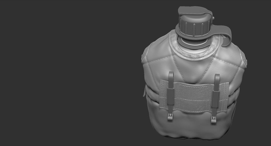 1QT Military Canteen Zbrush Sculpt royalty-free 3d model - Preview no. 7