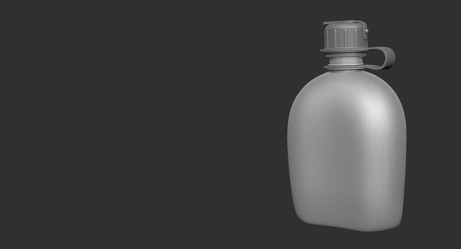 1QT Military Canteen Zbrush Sculpt royalty-free 3d model - Preview no. 13