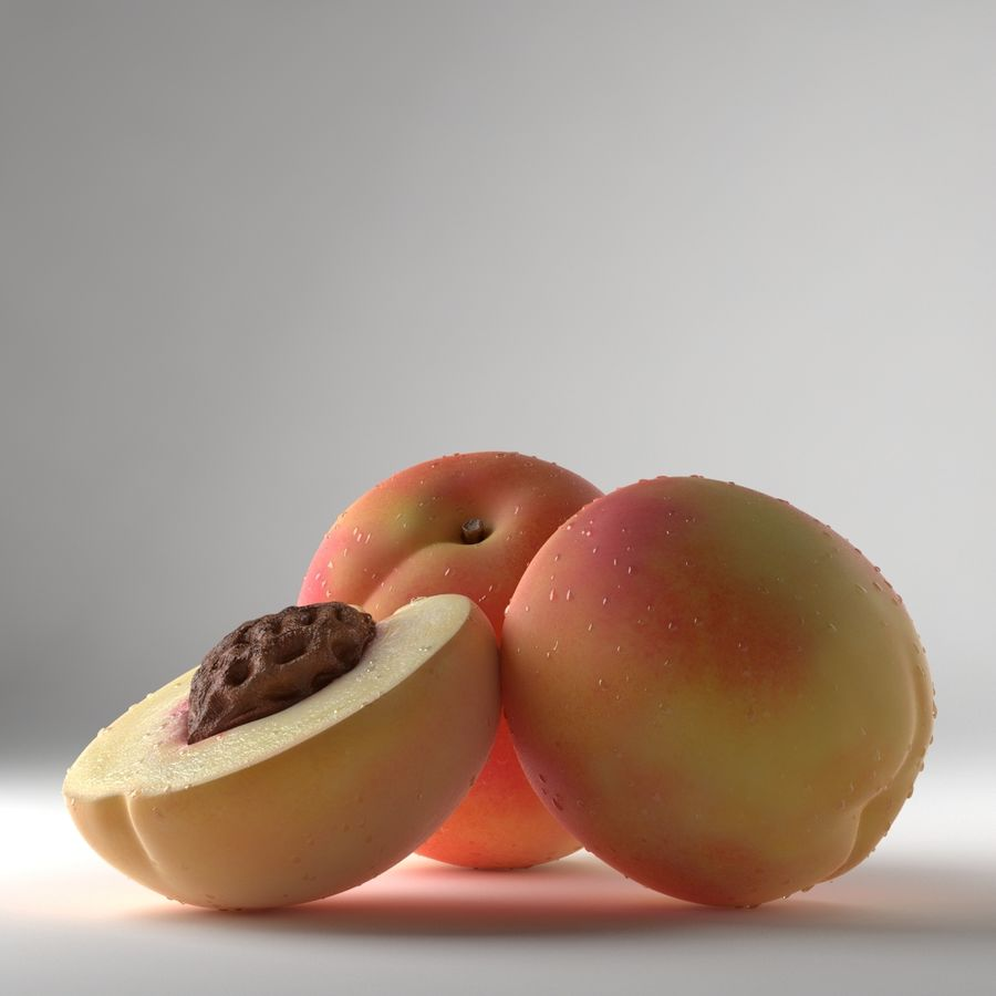 Peach Photorealistic royalty-free 3d model - Preview no. 2