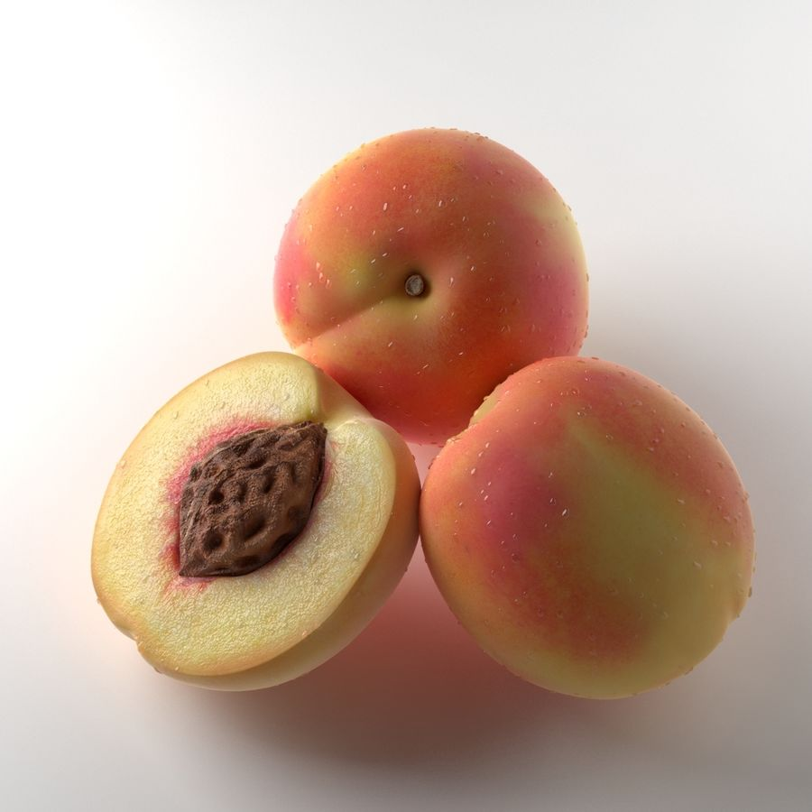 Peach Photorealistic royalty-free 3d model - Preview no. 3