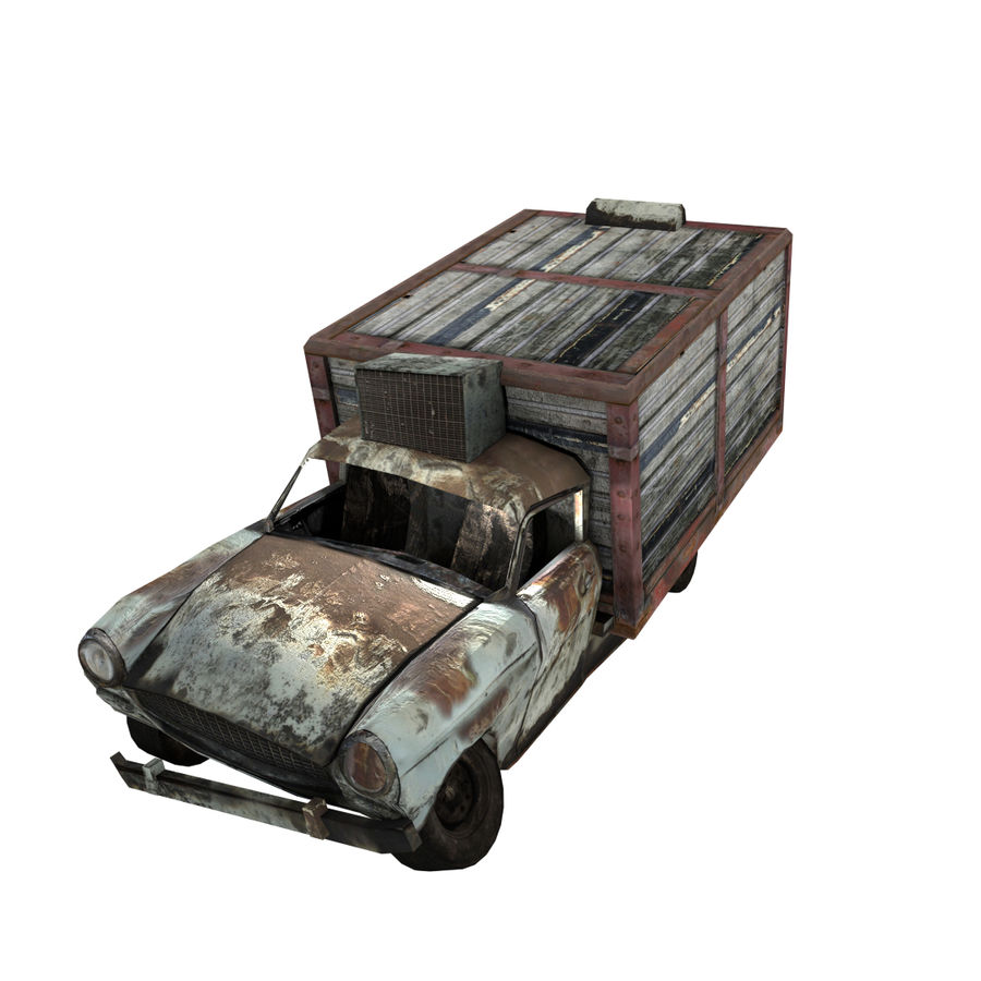 Destroyed Truck royalty-free 3d model - Preview no. 1