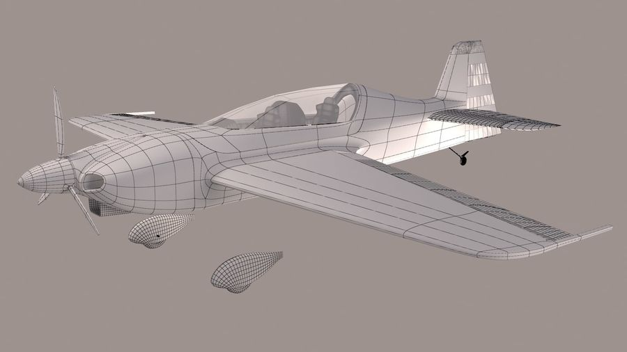 Sbach 342 XA-42 Aerobatic Plane royalty-free 3d model - Preview no. 8
