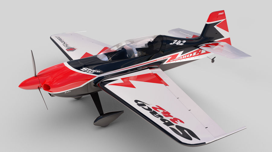Sbach 342 XA-42 Aerobatic Plane royalty-free 3d model - Preview no. 1