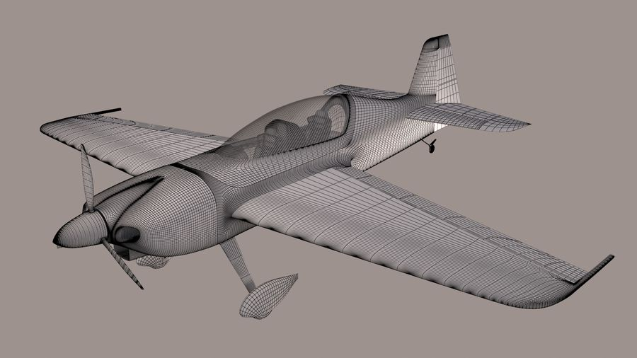Sbach 342 XA-42 Aerobatic Plane royalty-free 3d model - Preview no. 7