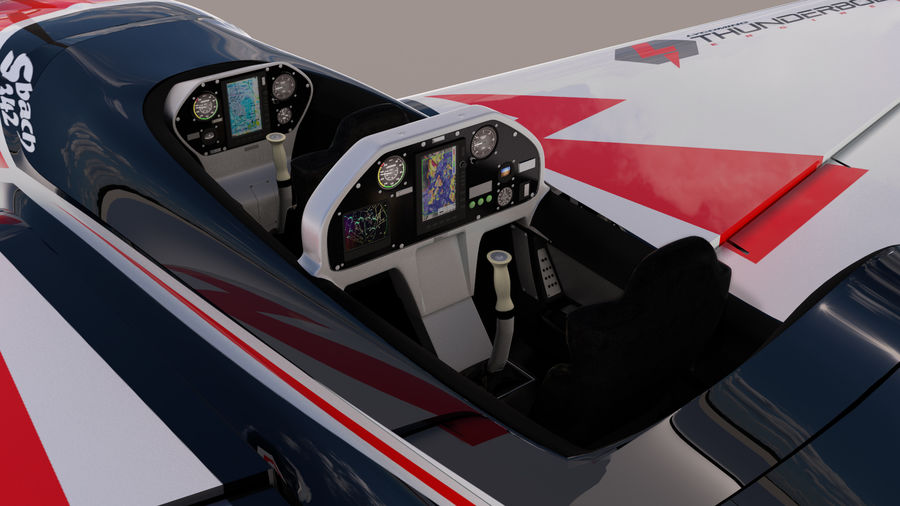 Sbach 342 XA-42 Aerobatic Plane royalty-free 3d model - Preview no. 3