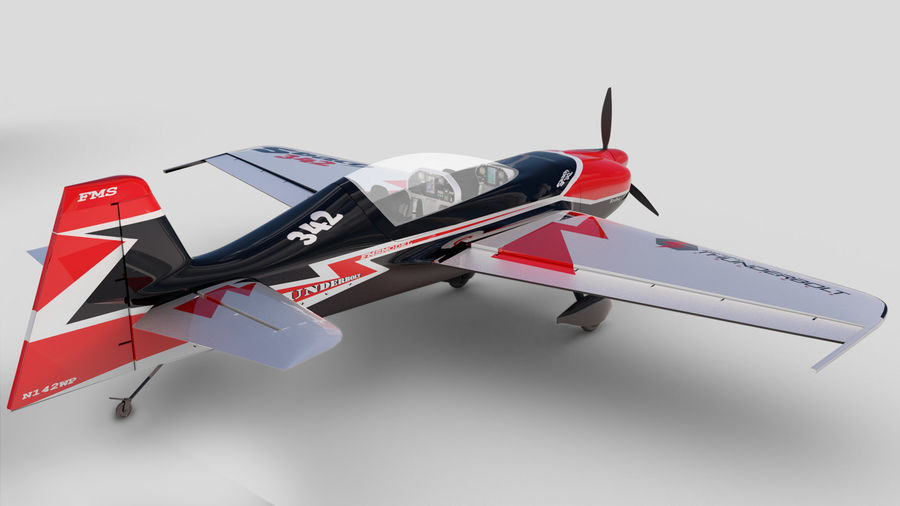 Sbach 342 XA-42 Aerobatic Plane royalty-free 3d model - Preview no. 2