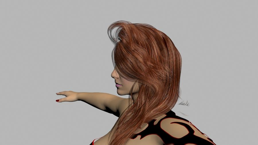 Ruiva em vestido preto royalty-free 3d model - Preview no. 8