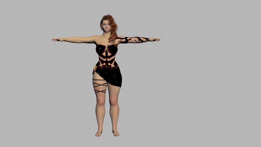 Ruiva em vestido preto royalty-free 3d model - Preview no. 1