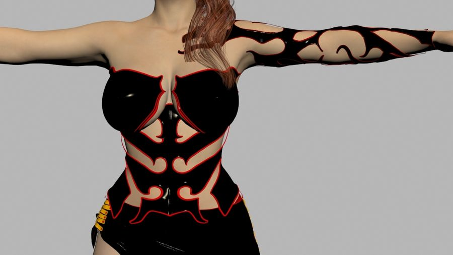 Ruiva em vestido preto royalty-free 3d model - Preview no. 5