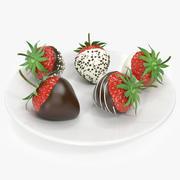 Realistisk jordgubbchoklad täckt 3d model